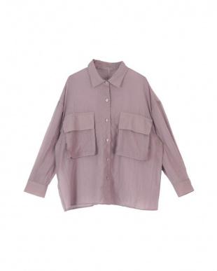 グレイッシュパープル ビッグポケットシアーワークシャツを見る