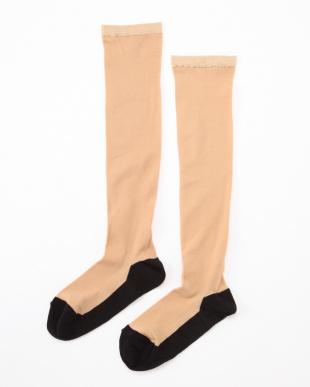 ベージュ×ブラック まるでストッキングを履いたようなくつした あったかタイプ4足セットを見る