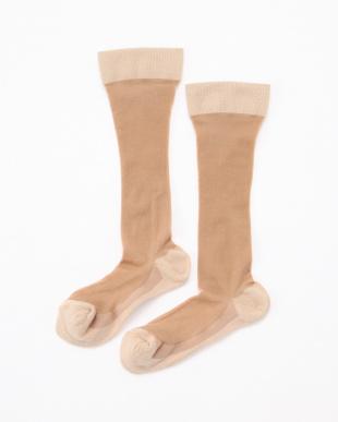 ベージュ まるでストッキングを履いたようなくつしたプレミアム 美脚着圧タイプ3足セットを見る