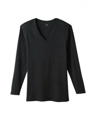 ブラック Vネック9分袖シャツ×3点 SETを見る