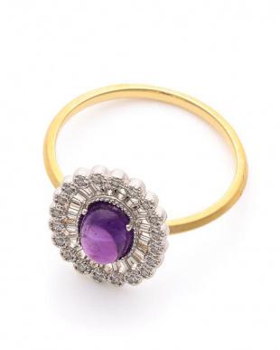 イエロー/プラチナ K18 ダイヤモンド アメシスト リングを見る