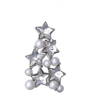 シルバー 星スワロフスキー(R)・クリスタル クリスマスツリーを見る