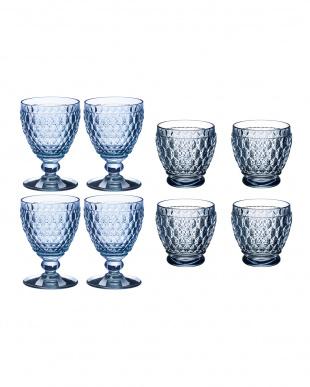 ボストン ワイングラス/サケショットグラス ブルー 各4P HAPPY BAGを見る
