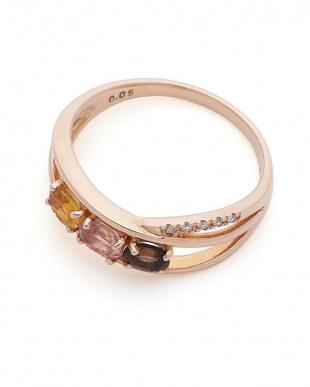 ピンクゴールド K10PG ダイヤモンド マルチストーン リングを見る