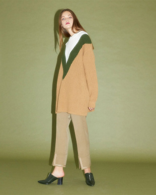 CAMEL 19AW KJ 1ST color block knit tunicを見る