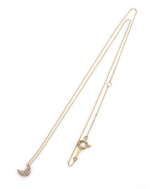 イエローゴールド K18YG ダイヤモンド ムーンパヴェ ネックレスを見る