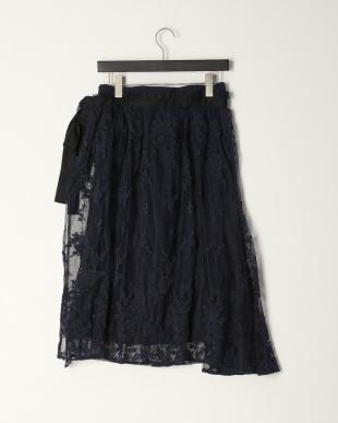 Navy リバーレースラップスカートを見る