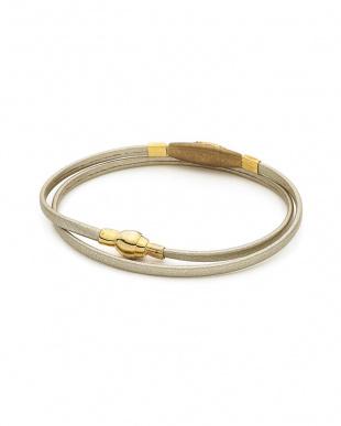 ゴールド×ホワイト シルバー ジルコニア レザー シルバーマグネット ブレスレットを見る