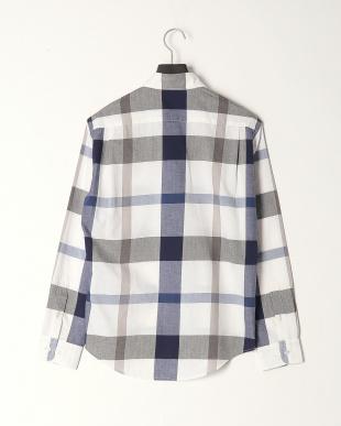 ホワイト コットンリネンカルゼ トーナルクレストブリッジチェックシャツを見る