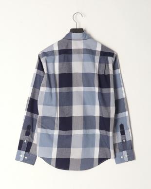 ブルー コットンリネンカルゼ トーナルクレストブリッジチェックシャツを見る