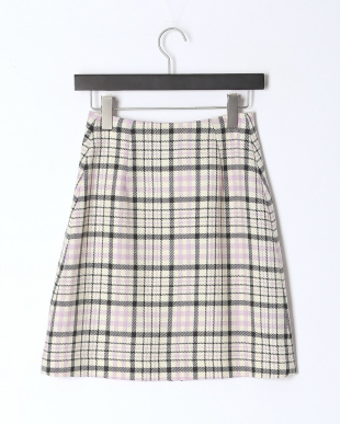 オフホワイト チェック台形スカートを見る