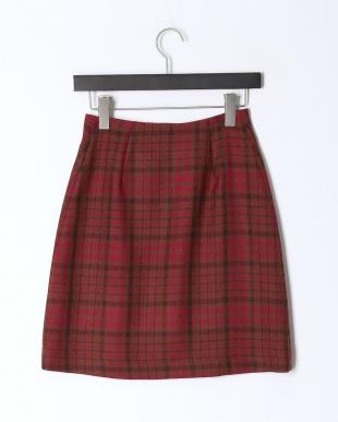 ダークブラウン チェック台形スカートを見る