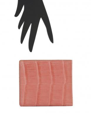 ピンク VENATURA クロコ×レザー 2つ折財布を見る