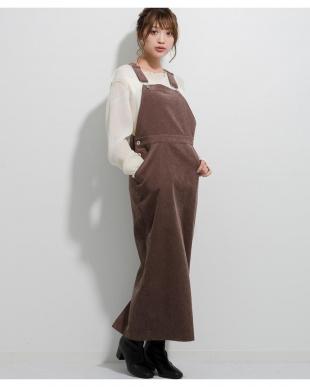 ダークブラウン コーデュロイジャンパースカートを見る