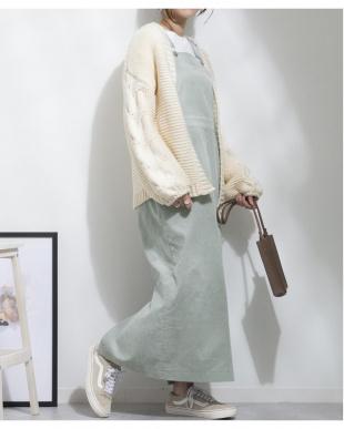 ミント コーデュロイジャンパースカートを見る