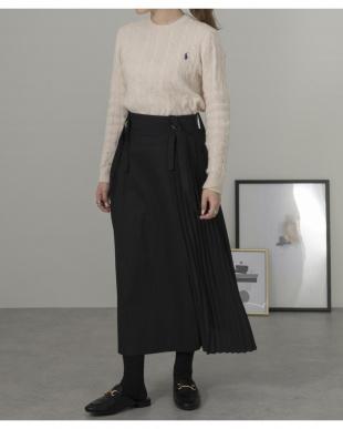 ブラック [低身長向け/きくりふく]サスペンダー付きサイドプリーツスカートを見る