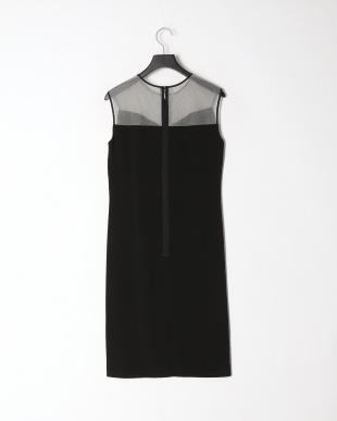 ブラック バックサテンジョーゼット ドレスを見る