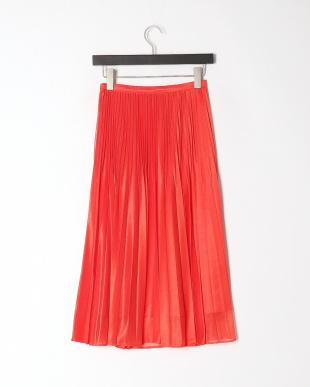 オレンジ ライトウェイトニット プリーツスカートを見る