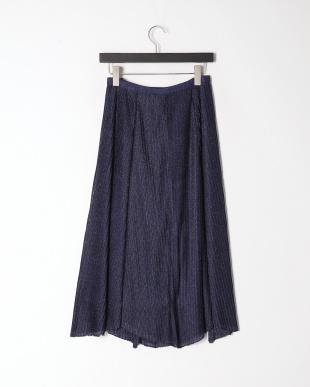 ブルー ニットプリーツ スカートを見る