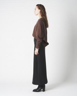 ブラック エコレザーIラインスカートを見る