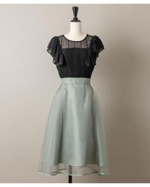 ミントグリーン オーガンジー配色ドレス(9R04-SB884)を見る