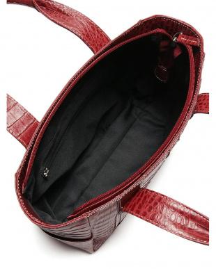 ワイン カイマンワニ革×牛革 ハンドバッグを見る