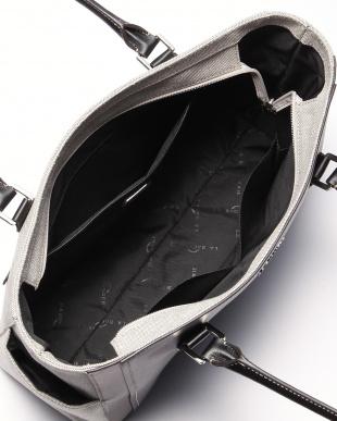 ブラック レザー×コットンキャンバス 異素材コンビA4トートを見る