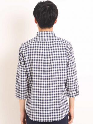 ネイビー メンアサギンガムチェックシチブソデシャツ[WEB限定サイズ] a.v.v HOMMEを見る