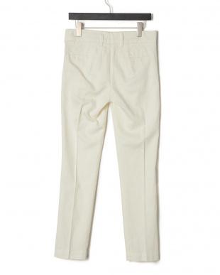 ホワイト リネン混 2タック パンツを見る