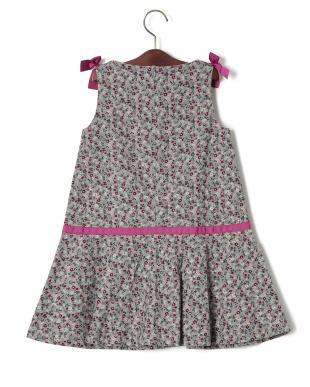 グレーフラワー フラワープリント リボン ドレスを見る
