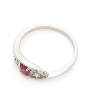 プラチナ PT900 ルビー ダイヤモンド リングを見る