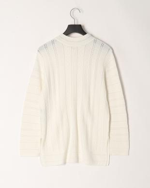 オフホワイト 透かし編みレーススタンド襟ニットブラウスを見る