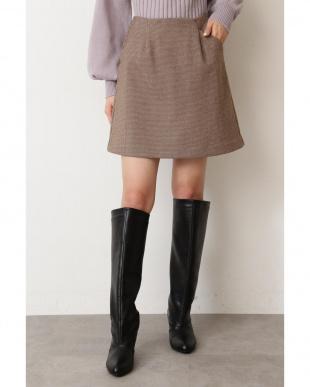 ブラウンチェック2 ◆千鳥チェック台形ミニスカート フリ-ズマ-ト オリジナルを見る