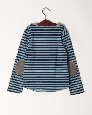 ブルー 2配色ボーダーボートネックTシャツを見る