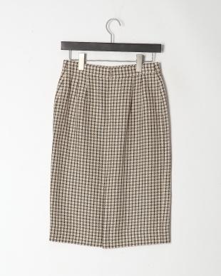 ベージュ コットンリネンガンクラブチェック スカートを見る