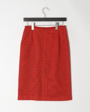 オレンジ ミニブロックエンブロイダリー スカートを見る