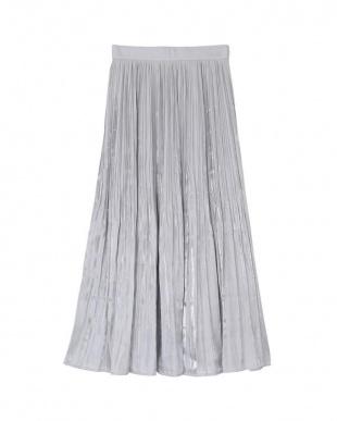 ライトグレー サテン消しプリーツスカートを見る