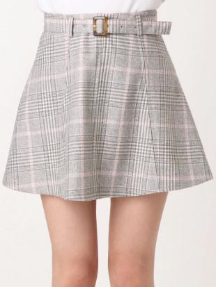 ベージュ 【sw】ベルト付ミニスカート dazzlinを見る