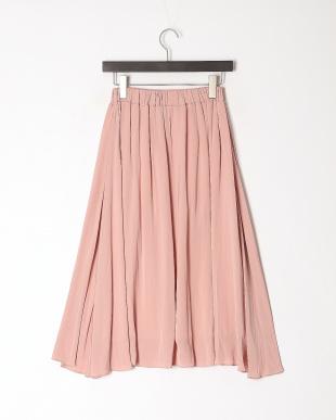 ピンク サテンフレアスカートを見る