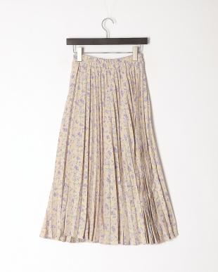 ベージュ 小花柄プリントプリーツスカートを見る