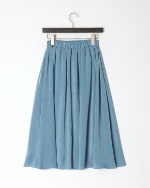 ブルー サテンフレアスカートを見る