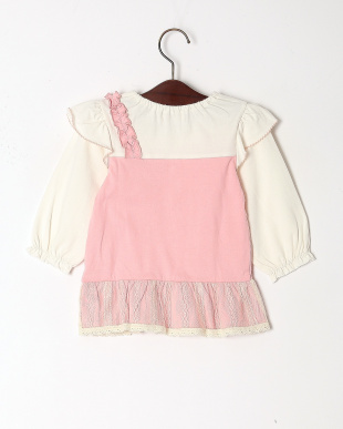 濃ピンク チェリー刺繍七分袖Tシャツを見る