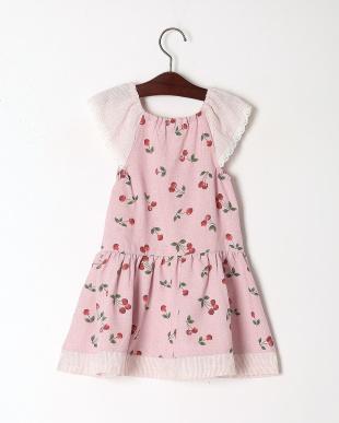 ピンク チェリープリントジャンパースカートを見る
