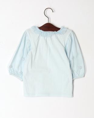 ブルー チュールスリーブ七分袖Tシャツを見る