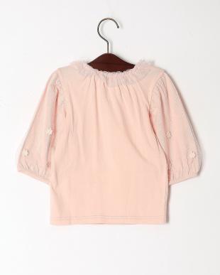 ピンク チュールスリーブ七分袖Tシャツを見る