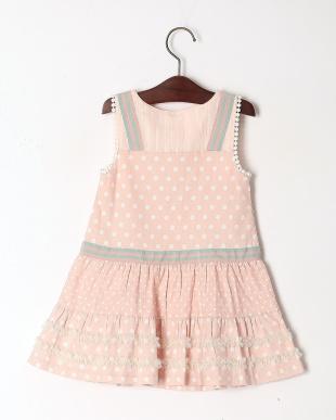 ピンク ドットプリントジャンパースカートを見る