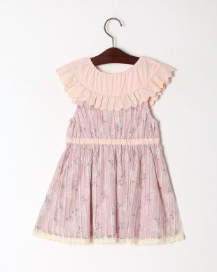 ピンク ローズプリントジャンパースカートを見る