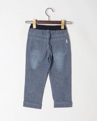 ブルー ストレッチシャンブレー9分丈パンツを見る