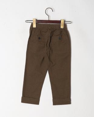 カーキ 麻混カラーシャンブレー9分丈パンツを見る