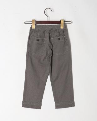グレー 麻混カラーシャンブレー9分丈パンツを見る